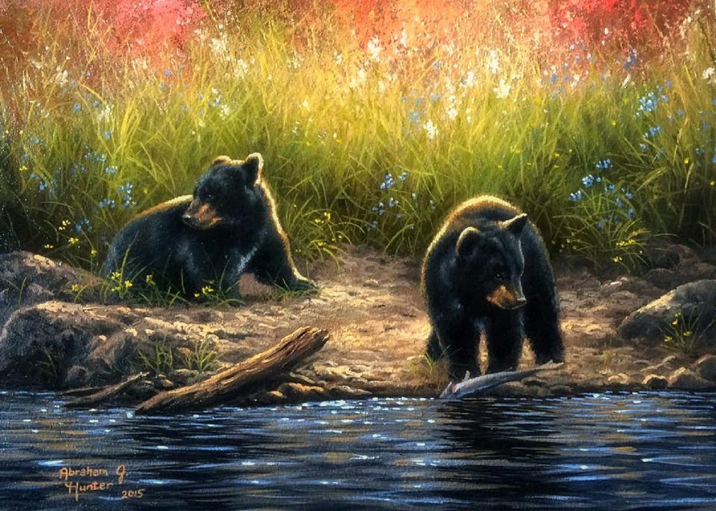 bears-black-bear-cubs-flowers-paintings-bears-nature-rivers-cute-fishing-lovely-animals-spring-wildlife-love-seasons-gallery
